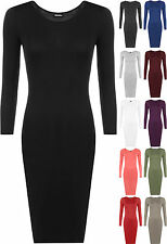 New Womens Plus Size Plain Long Sleeve Bodycon Ladies Stretch Midi Dress