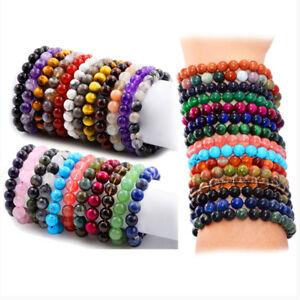 Fashion 8mm Handmade Mixed Natural Gemstone Reiki Round Beads Charm Bracelets