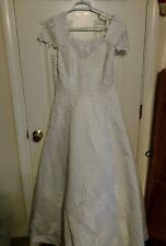 Stunning! Oleg Cassini Short Sleeve Beaded  Wedding Dress~ Size 16