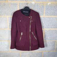 Zara Size 10 S Small Burgundy Purple Wool Boucle Biker Coat Jacket Gold Zip