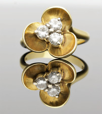VINTAGE 18CT YELLOW GOLD 3 STONE DIAMOND PETAL RING - 1992