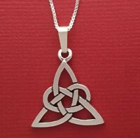 Sterling Silver Celtic Necklace Trinity knot solid 925 pendant charm and chain