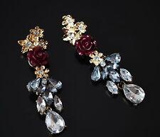 Luxus Ohrringe Ohrschmuck Ohrstecker Kristall Swarovki vergoldet Rosa Paris