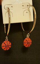 Orange Glitter Rhinestone Basketball Dangle Pendant Silver Tone Lg Hoop Earrings