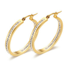 Titanium Steel Big Circle Hoop Earrings Women's 18K Gold Plated Round CZ Jewelry