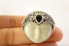 Balinese Goddess Open Eyes Red Garnet 925 Sterling Silver Ring Sz 6, 7, 8, 9, 10