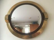 Vintage Brass Round Wall Hanging Mirror with Belt Buckle decoration