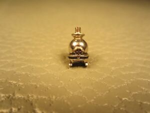 Vintage Pot Belly Stove White Gold Plated Tie Tac or Lapel Pin