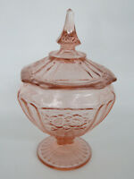 Anchor Hocking Mayfair Open Rose Pink Depression Glass Candy Dish with Lid 280B