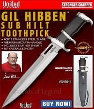 Gil Hibben Micarta Sub Hilt Toothpick Knife w/ Leather Sheath GH5044 *NEW*