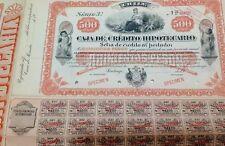 Chilean 19xx Caja Credito Hipotecario 500 $ Pesos SPECIMEN Coups Bond Share Loan