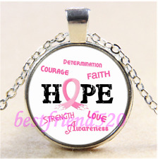 Breast Cancer HOPE Photo Cabochon Glass Tibet Silver Pendant Necklace#CE71