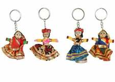 Indian Rajasthani Wooden Keyring Handmade Puppet Couple set Key Chains Rings