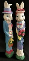 """Set of 2 Resin  Figurines  12"""" Easter Country Bunny Rabbit basket of Flowers"""