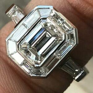 3ct Emerald Cut Diamond Engagement Ring Art Deco  SOLID PLATINUM