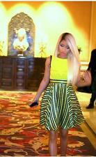 Versace Mujer Negro + Amarillo Seda sin Mangas Fit + Vestido Acampanado 38/2 Xs