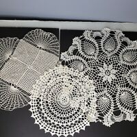 Handmade Crochet Doilies Pineapple Pattern White Round Square Lot of 3 Vintage