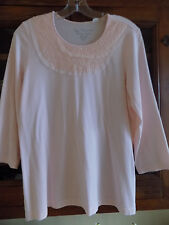 Chico's women's sz 1 Melon 3/4 sleeve embellished top scoopneck lace sequins
