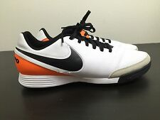 Nike Tiempo Genio Leather Turf Futsal Soccer Shoes Mens White Size 8