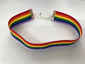 Choker Rainbow Gay Pride Necklace Chain Ladies Girls Boys Mens UK Seller - NEW