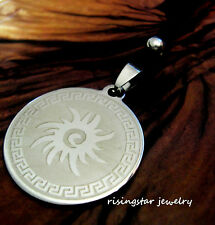 Native American Tribal Sun Symbol Stainless Steel Pendant Character Necklace