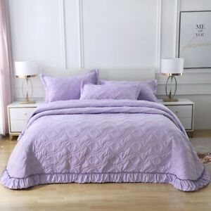 Purple Quilted Patchwork Coverlet King Size Bedspread Set Comforter 250X270CM