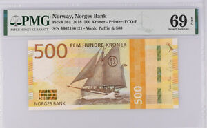 Norway 500 Kroner 2018 P 56 a Superb Gem UNC PMG 69 EPQ Top Pop