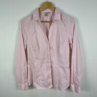 H&M Womens Top Shirt 12 Pink Long Sleeve Button Front Collared