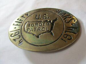 Vintage 1974 US Border Patrol 50th Anniversary #'d Brass Belt Buckle