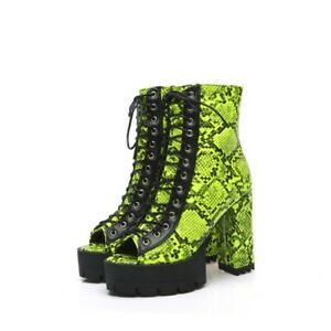 Women's High Heel Lace-Up Ankle Boots Zipper Heels Open Toe Platform Ankle Boots