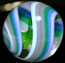 """HANDMADE GLASS MARBLE/1.783""""-WIDE GREEN LUTZ TWISTED RIBBON-GIANT BOULDER-PINK++"""