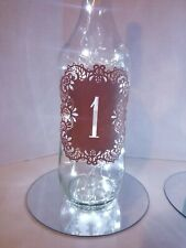 Wine bottle Centerpieces with table number and cork lights 10 piece set