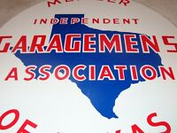 """VINTAGE TEXAS GARAGEMEN ASSOCIATION MEMBER 13"""" PORCELAIN METAL GASOLINE OIL SIGN"""