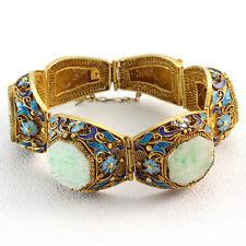 Antique Chinese Vermeil Jade and Enamel Hinged Bracelet
