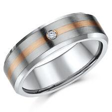 Titanium & 9ct Rose Gold Wedding Ring Diamond Set Engagement 7mm Band