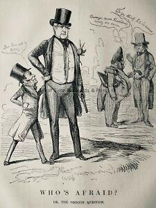 c1845 Antique Victorian Print AMERICA USA - WHO'S ARAID? or THE OREGON QUESTION