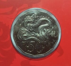 Australian Fifty 50c cent coin - Lunar Series 2012 - Year of the DRAGON - RARE