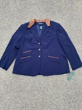 $305 Lauren Ralph Lauren Blazer Jacket Navy Blue Vintage Equestrian Leather Trim