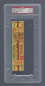 PSA 8 MICKEY MANTLE VINTAGE 1954 ORIOLES @ NEW YORK YANKEES FULL TICKET - 7/15