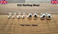 925 Sterling Silver -  Silver Heart Shaped Stud Earrings Flat Back - 4 Sizes