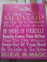 Mermaid Sign Handmade Painted Canvas Wall Decor