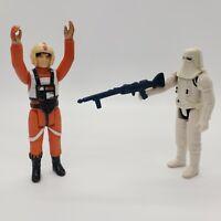 Vintage 1978 Kenner Star Wars Luke X-Wing Pilot Snowtrooper w/ Rifle Figure Lot