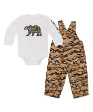 Boy's Carhartt Tan Camouflage set with White Tee Overalls size 9 Months 9M