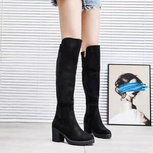 New Womens Thigh High Boots Ladies Over The Knee Stretch Long Low Mid Heel Shoes