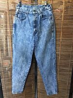 CHIC JEANS Vintage Women Size 14T HIGH RISE Acid Stone Washed Tapered Leg Denim