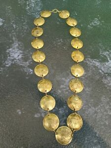 Vintage Tribal Brass Peruvian Coin Necklace