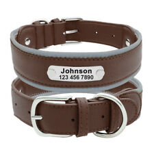 Personalized Dog Collar Medium Large Leather Dog Collars Reflective For Pitbull