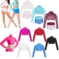 Kid Girl 2-Piece Dance Outfit Ballet Gym Long Sleeve Turtle Neck Crop Top+Briefs