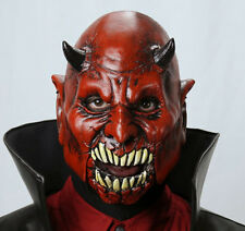 Mad Monster Red Devil Demon with Moving Jaw Scary Adult Latex Halloween Mask