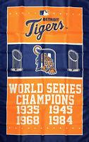 Detroit Tigers World Series Championship Flag 3x5 ft MLB Sports Banner Man-Cave